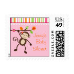Little Miss Monkey Baby Shower Postage Stamps