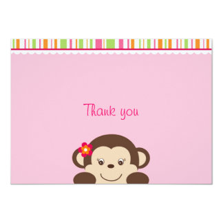 """Little Miss Monkey Thank You Note Cards 4.5"""" X 6.25"""" Invitation Card"""