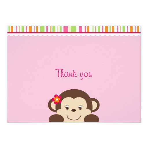 Little Miss Monkey Thank You Note Cards Custom Announcements
