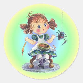 LITTLE MISS MUFFET by SHARON SHARPE Round Sticker