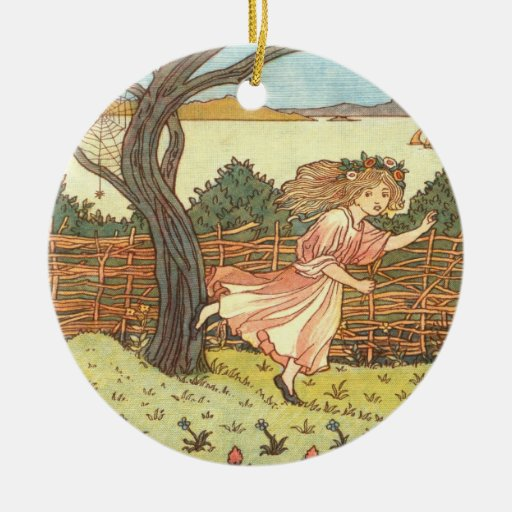 """""""Little Miss Muffet"""" Double-Sided Ceramic Round Christmas Ornament"""