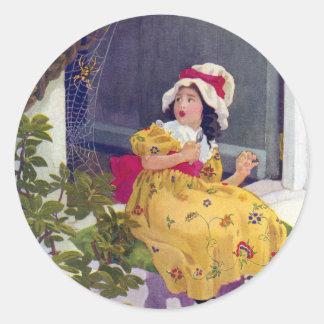 Little Miss Muffet Nursery Rhyme Classic Round Sticker