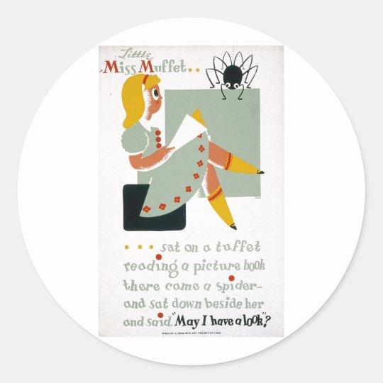 Little Miss Muffet Sat on a Tuffet 1940 poster Classic Round Sticker