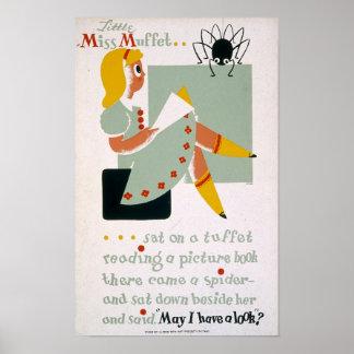 Little Miss Muffet Sat on a tuffet Posters