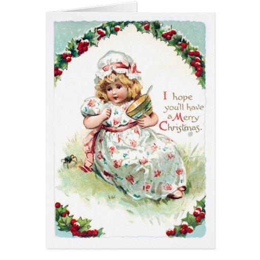 Little Miss Muffet Vintage Christmas Card