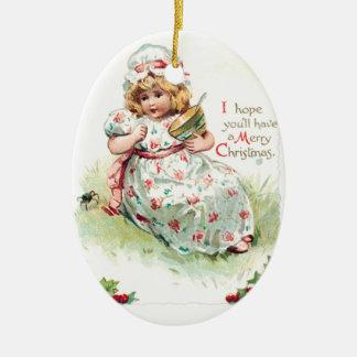 Little Miss Muffet Vintage Christmas Card Ceramic Ornament