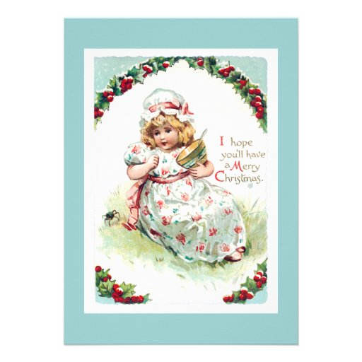 Little Miss Muffet Vintage Christmas Card Invitations