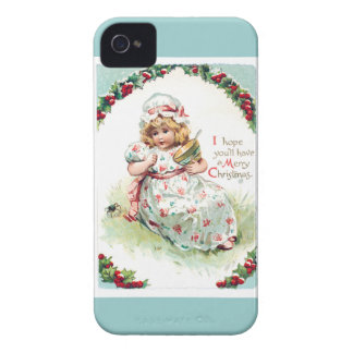 Little Miss Muffet Vintage Christmas Card iPhone 4 Case-Mate Cases