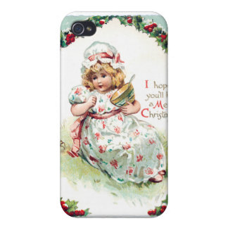 Little Miss Muffet Vintage Christmas Card iPhone 4 Cover