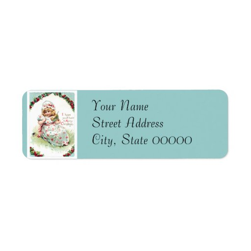 Little Miss Muffet Vintage Christmas Card Return Address Label