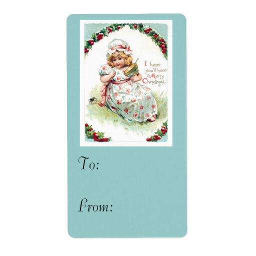 Little Miss Muffet Vintage Christmas Card Personalized Shipping Label