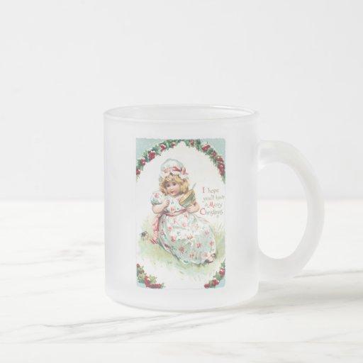 Little Miss Muffet Vintage Christmas Card Mugs
