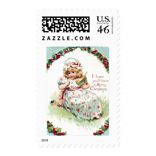 Little Miss Muffet Vintage Christmas Card Stamp