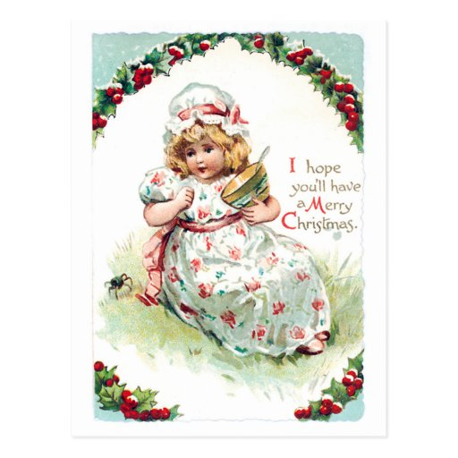Little Miss Muffet Vintage Christmas Card Post Card
