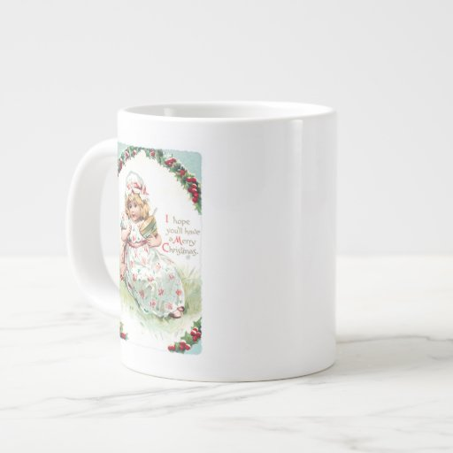 Little Miss Muffet Vintage Christmas Card Jumbo Mug