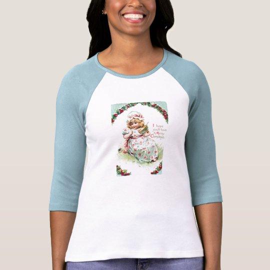 Little Miss Muffet Vintage Christmas Card T-Shirt