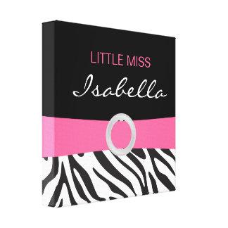 Little Miss Name Canvas on Zebra Pattern Canvas Print