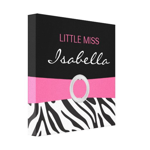 Little Miss Name Canvas on Zebra Pattern Stretched Canvas Prints