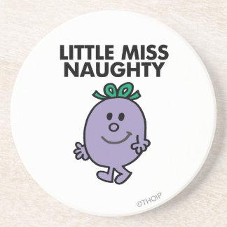 Little Miss Naughty   Black Lettering Coaster