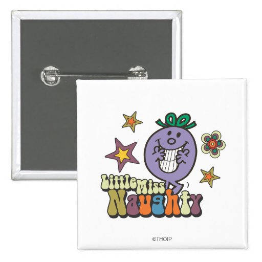 Little Miss Naughty Stars and Flowers Buttons