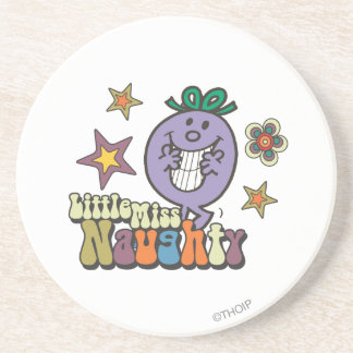 Little Miss Naughty Stars and Flowers Drink Coasters