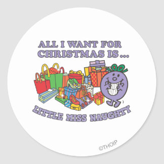 Little Miss Naughty's Christmas Joy Classic Round Sticker