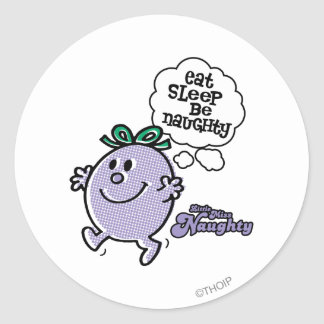 Little Miss Naughty's Three Step Plan Classic Round Sticker