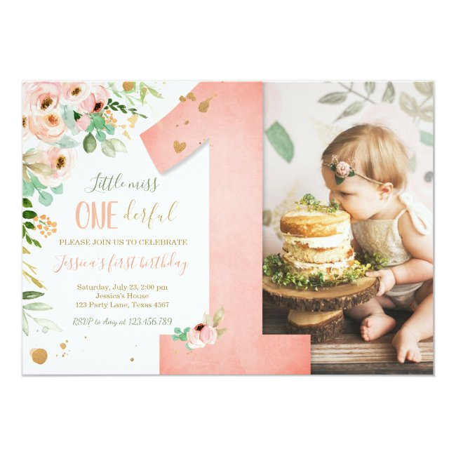Little Miss Onederful 1st Birthday Invite Floral
