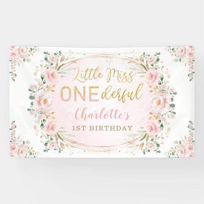 Little Miss ONEderful Birthday Blush Gold Floral Banner