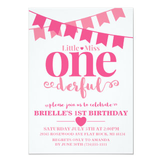 Little Miss Onederful First Birthday Invitation