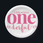 "Little Miss Onederful Party Plates<br><div class=""desc"">Paper Party Plates that match our pink Little Miss Onderful first birthday theme!</div>"