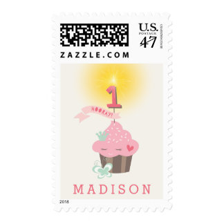 Little Miss Pink Cupcake Girl 1st Birthday Party Postage Stamp