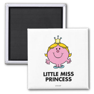 Little Miss Princess | Crown Background 2 Inch Square Magnet