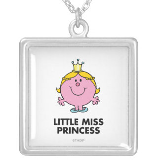 Little Miss Princess | Crown Background Silver Plated Necklace