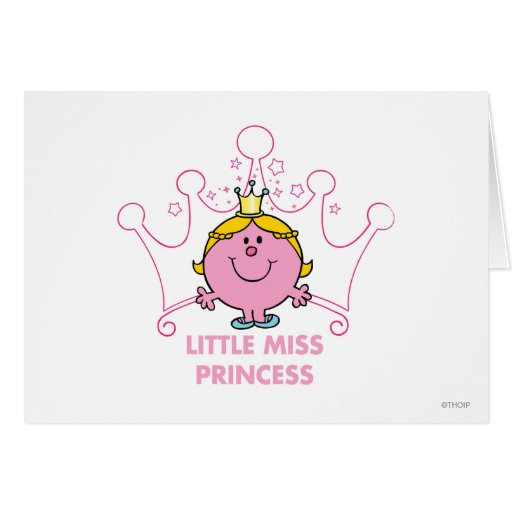 Little Miss Princess Pink Five Pointed Crown Greeting