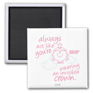 Little Miss Princess | Invisible Crown 2 Inch Square Magnet