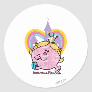 Little Miss Princess Posing With Castle & Heart Classic Round Sticker