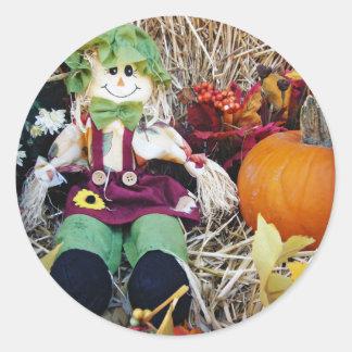 Little Miss Scarecrow Classic Round Sticker