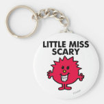 Little Miss Scary   Black Lettering Basic Round Button Keychain