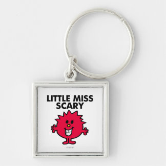 Little Miss Scary | Black Lettering Silver-Colored Square Keychain