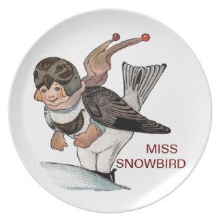 LITTLE MISS SNOWBIRD DINNER PLATE