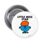 Little Miss Star   Black Lettering 2 Inch Round Button
