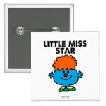 Little Miss Star   Black Lettering 2 Inch Square Button