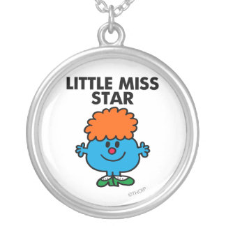 Little Miss Star | Black Lettering Round Pendant Necklace