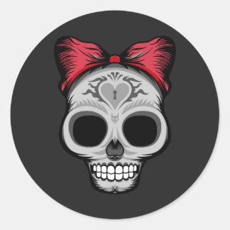 Little Miss Sugar Skull Classic Round Sticker
