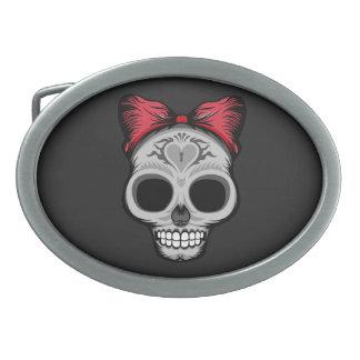 Little Miss Sugar Skull Oval Belt Buckle