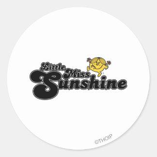 Little Miss Sunshine | Black Bubble Lettering Classic Round Sticker