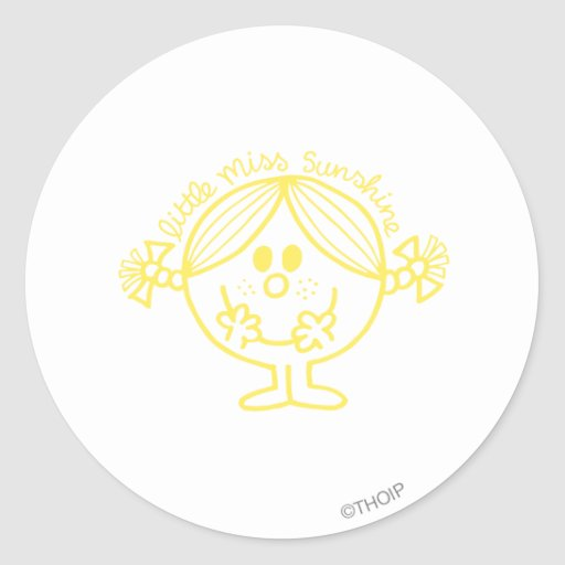 Little Miss Sunshine Line Art Yellow Stickers