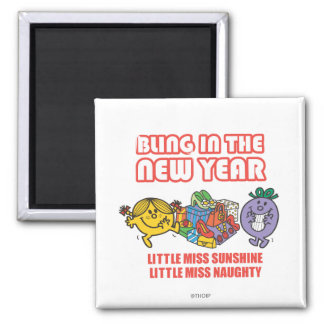 Little Miss Sunshine & Little Miss Naughty 2 Inch Square Magnet