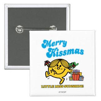 Little Miss Sunshine   Merry Kissmas 2 Inch Square Button